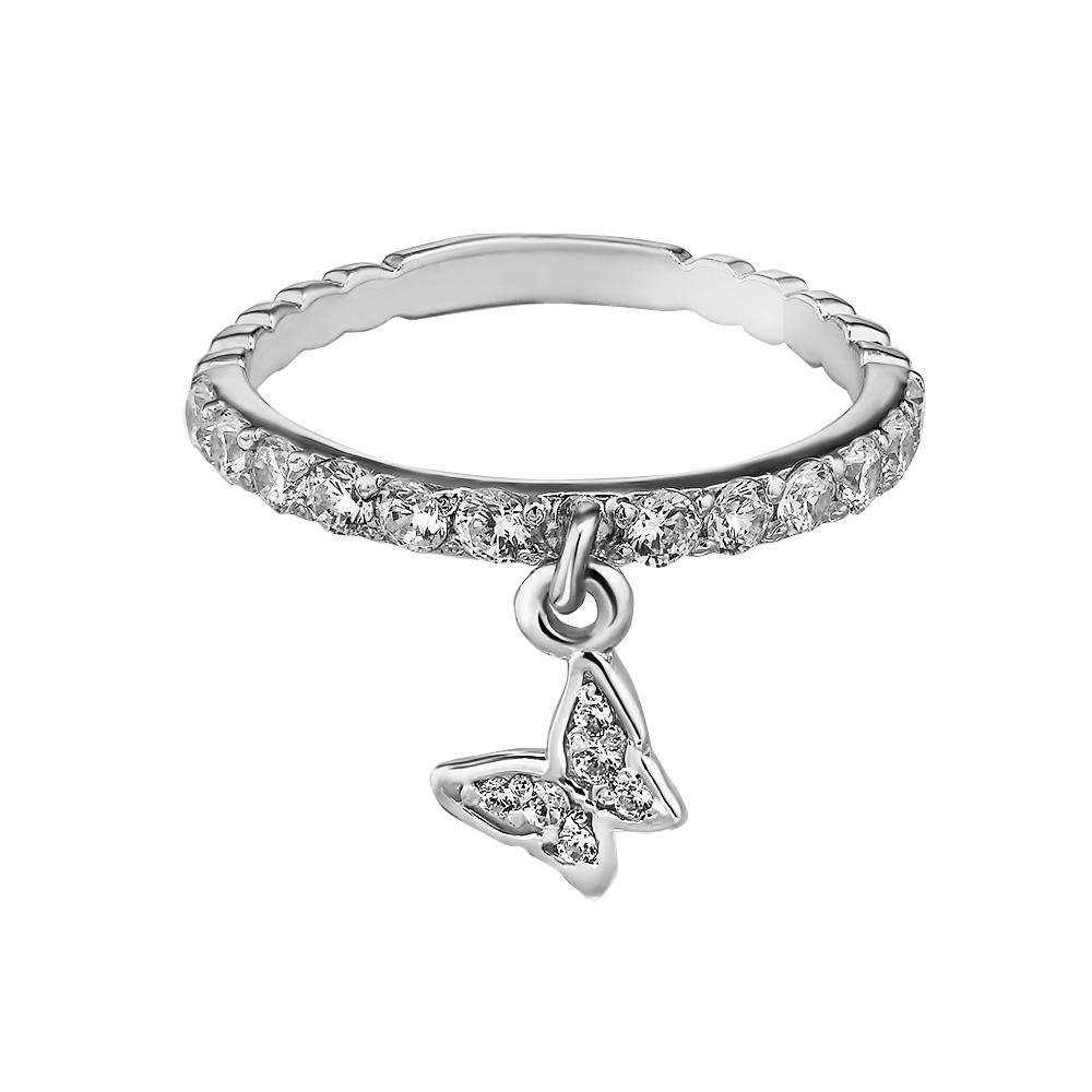 Серебряное женское кольцо с подвеской-бабочкой, фианиты, родий - купить в Ювелирном магазине Silveroff     Ресурс 1Ресурс 4Ресурс 2Ресурс 1Ресурс 4Ресурс 2