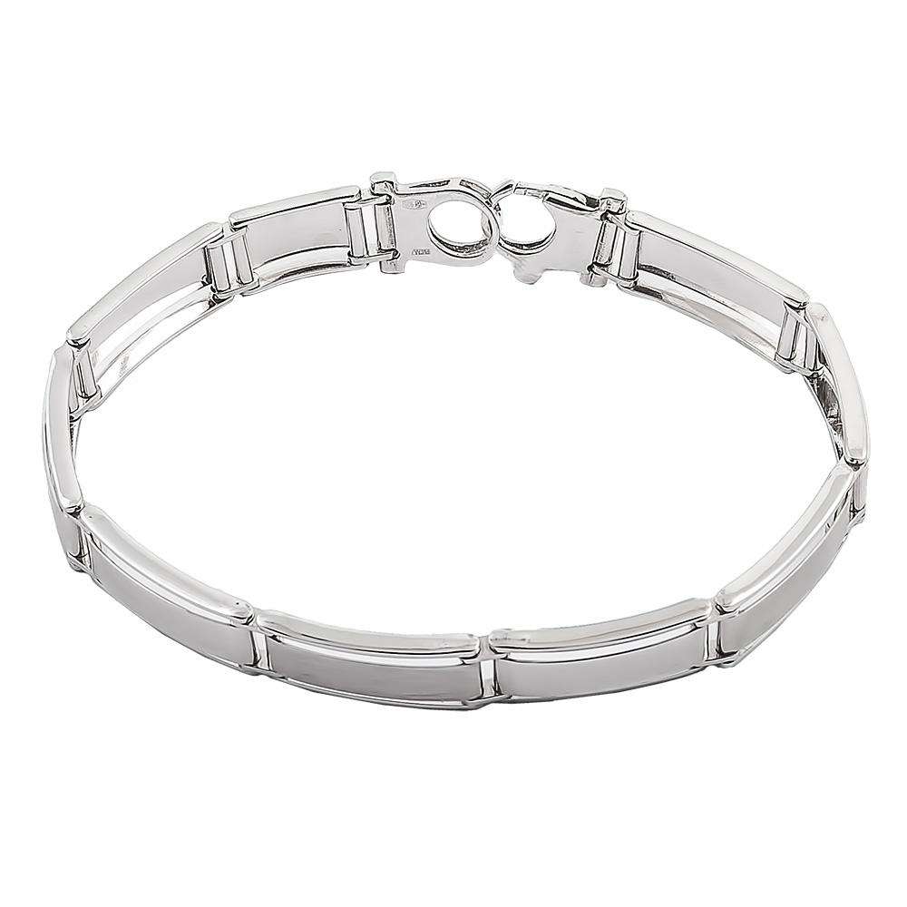 Серебряный браслет, плетение полужесткое, покрытие родий, ширина 0,8 см - купить в Ювелирном магазине Silveroff