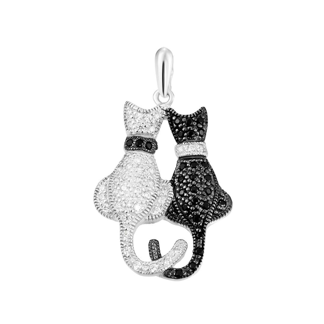 """Серебряная подвеска """"Два кота"""" с черными и белыми фианитами, в родии - купить в Ювелирном магазине Silveroff"""