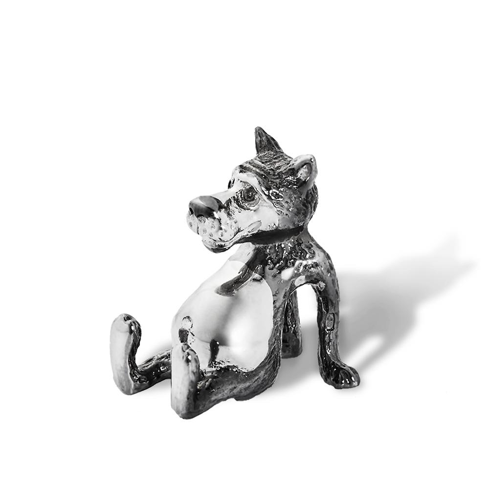 Серебряная фигурка волка из мультфильма, черный/белый родий - купить в Ювелирном магазине Silveroff